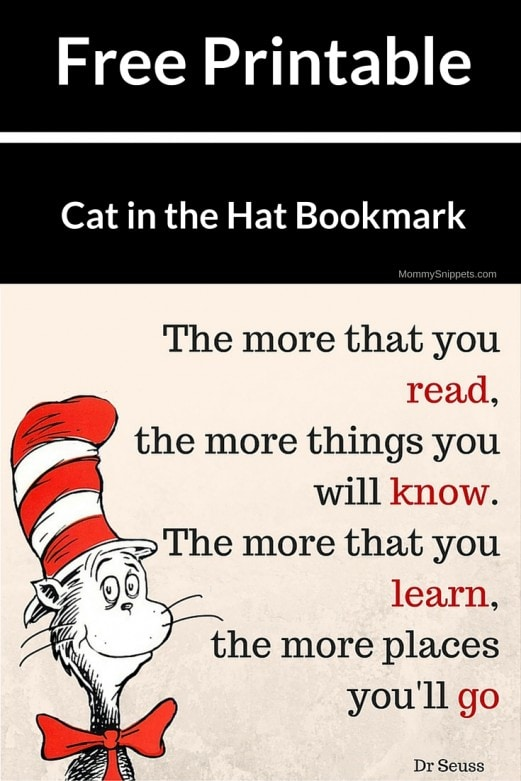 Free Printable Cat in the Hat Bookmark- MommySnippets.com