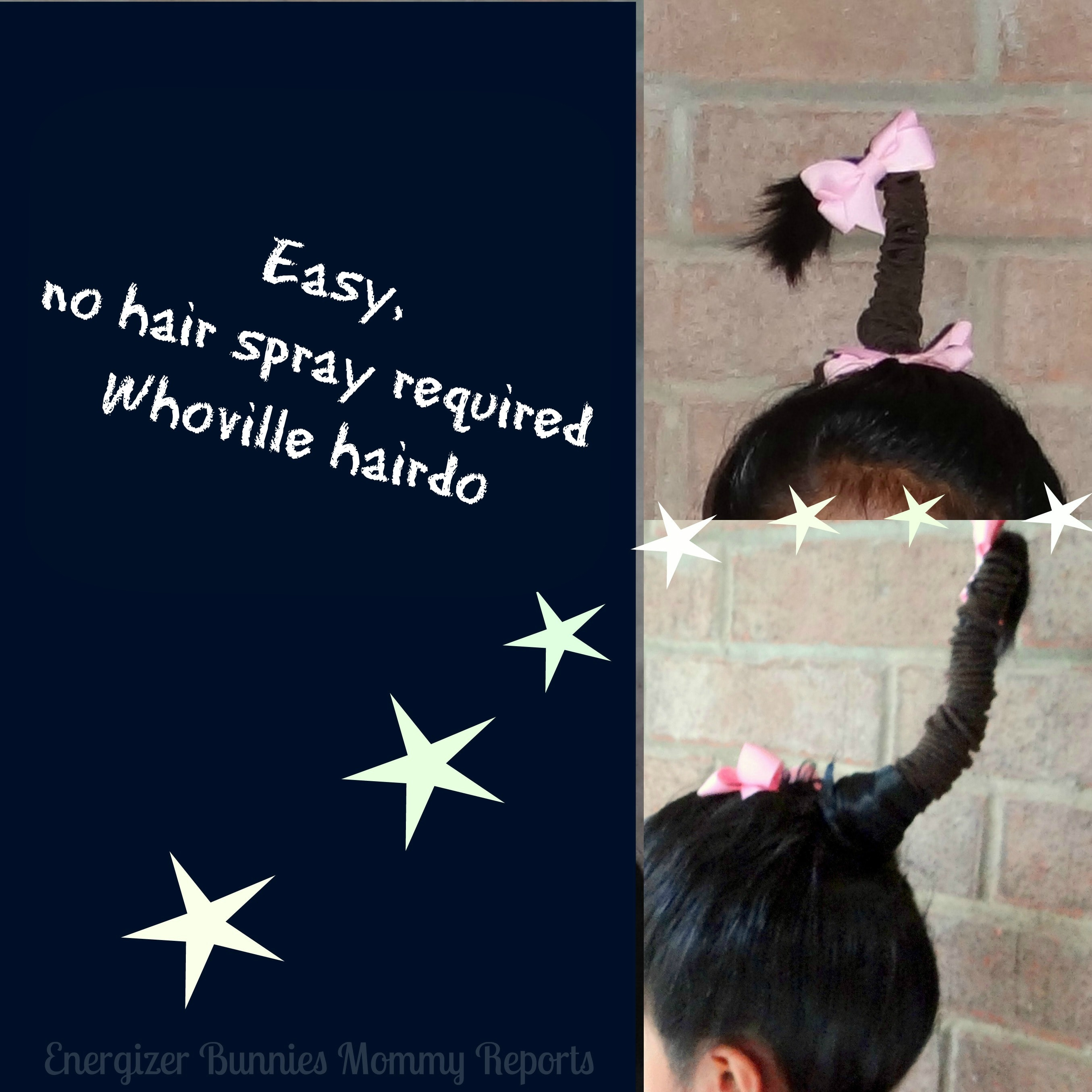 An easy, no hair spray required Who,ville hairdo for girls!