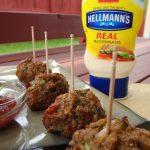 Baked Fiesta Meatballs take on Mario Batali's Juicy Salsa Burger!