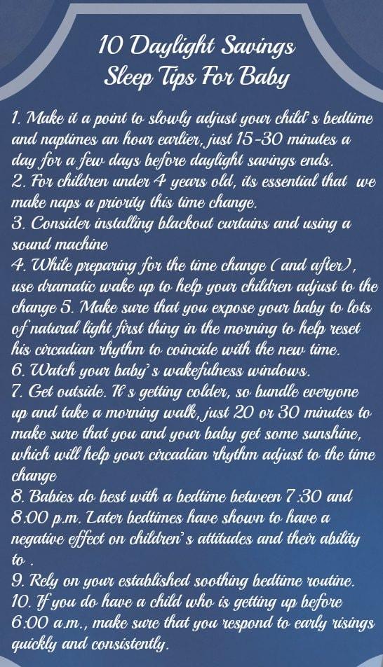 10 Daylight Savings Sleep Tips For Baby.