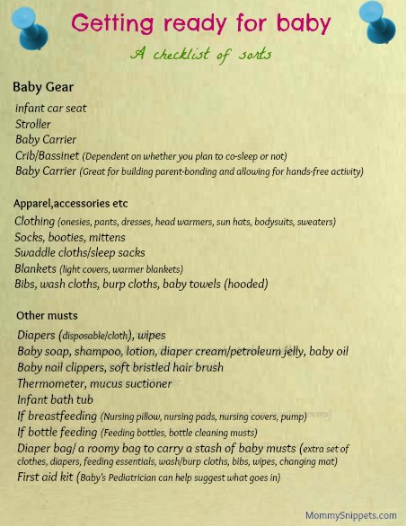 Getting ready for baby (A checklist of sorts)- Mommy Snippets