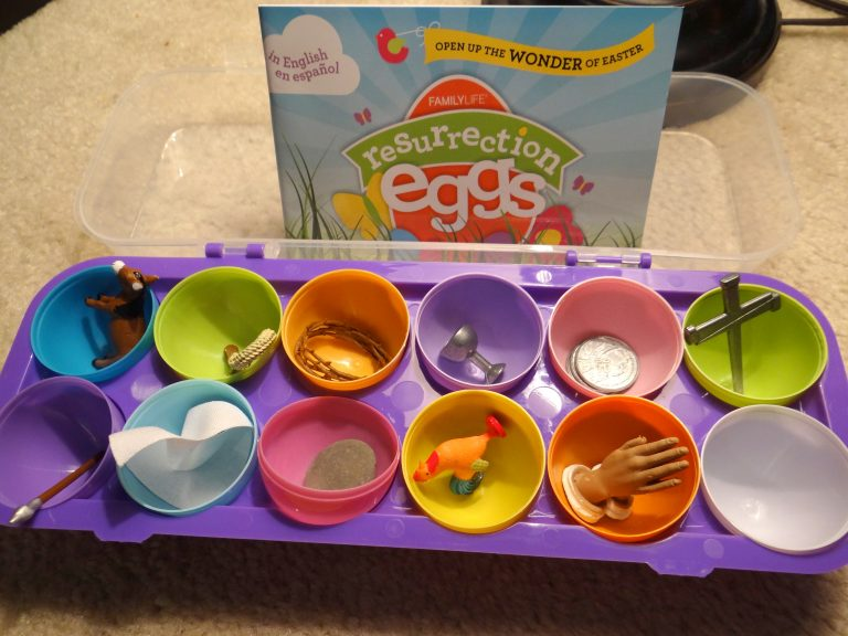 Teaching children the Easter story with Resurrection Eggs.