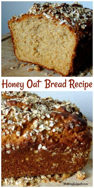 Honey Oat Bread Recipe- MommySnippets.com