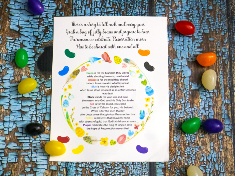 How to Use the Jelly Bean Poem to Teach Kids the Easter Story (Free Printable)