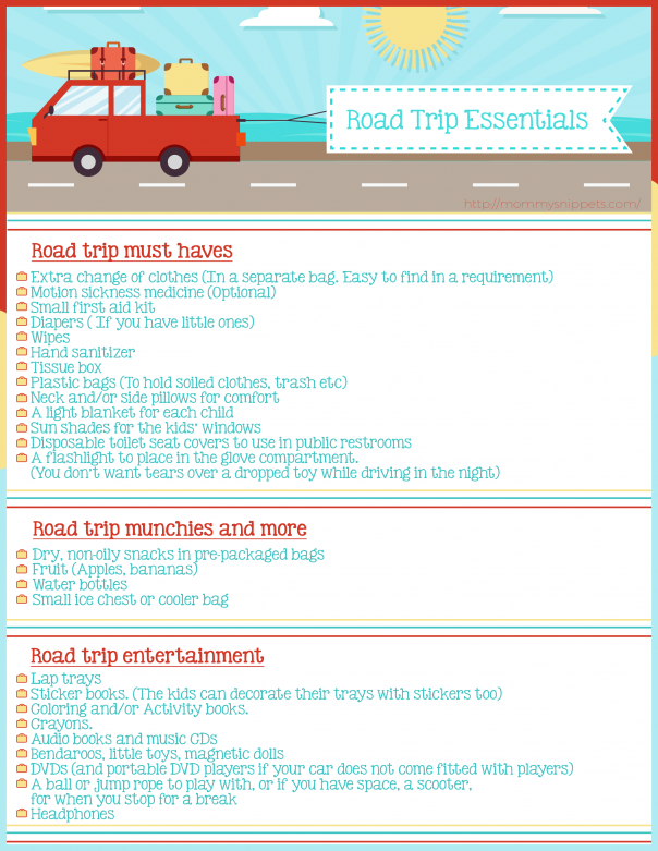 Road Trip Essentials Checklist- MommySnippets.com #Travel #FallForPennzoil [ad]