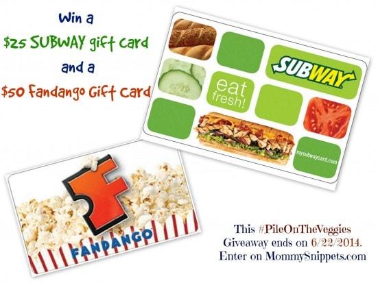 Win a $25 SUBWAY gift card and a $50 Fandango Gift Card