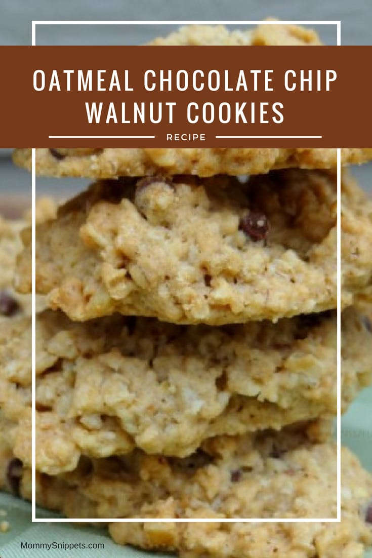A delicious, homemade Oatmeal Chocolate Chip Walnut Cookies recipe- MommySnippets.com