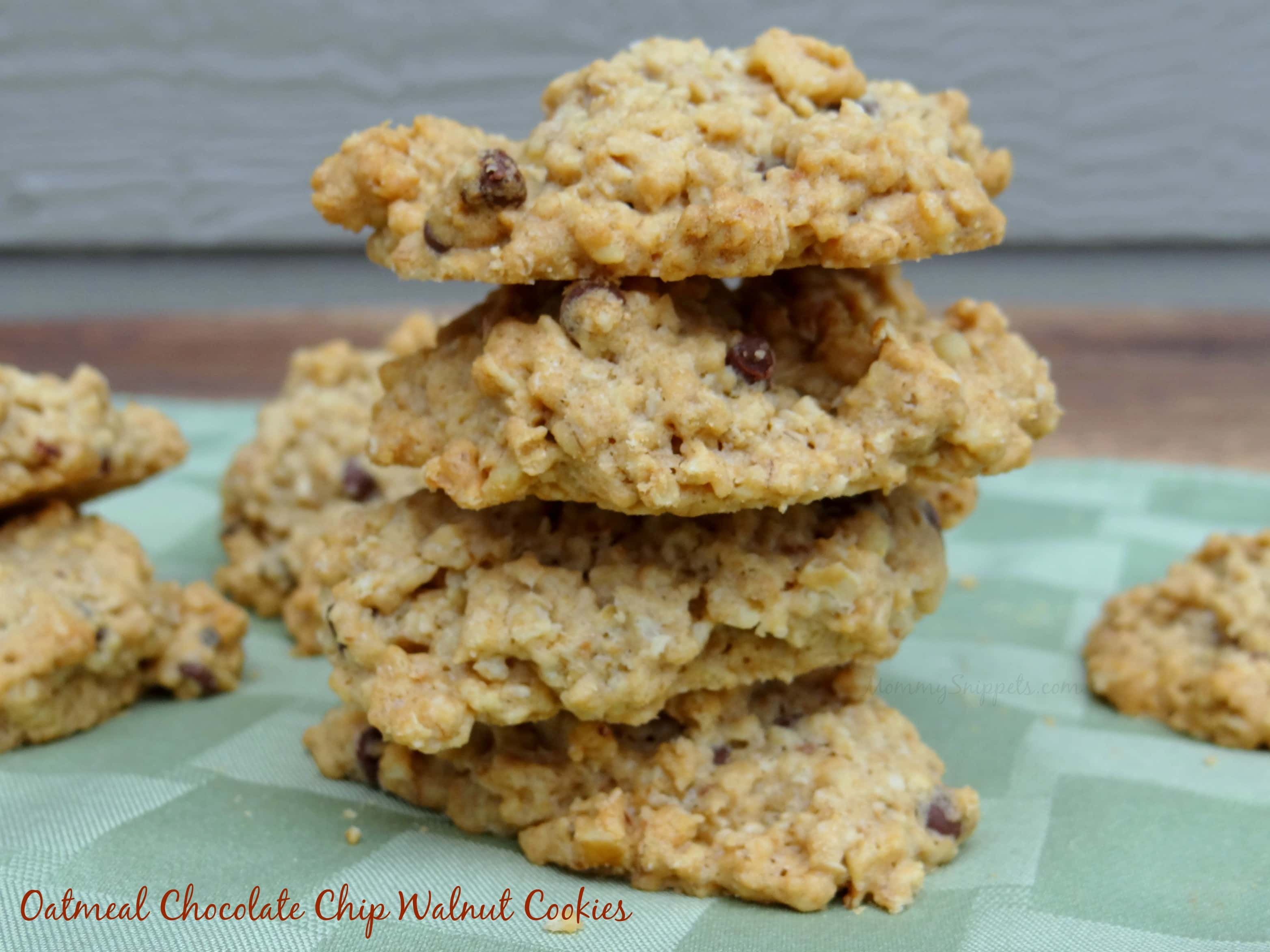 Oatmeal Chocolate Chip Walnut Cookies- MommySnippets