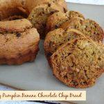 Healthy Pumpkin Banana Chocolate Chip Bread