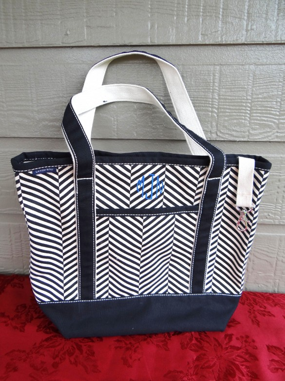 Black And White Monogrammed Tote From Lands End 2