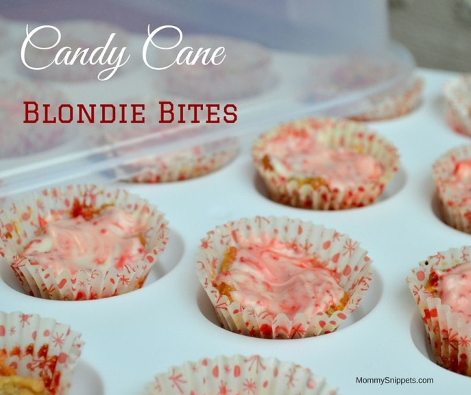 Candy Cane Blondie Bites- MommySnippets.com #GobbleAgain #IC #Sponsored