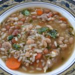 Healthy Chicken Rice and Bean Soup