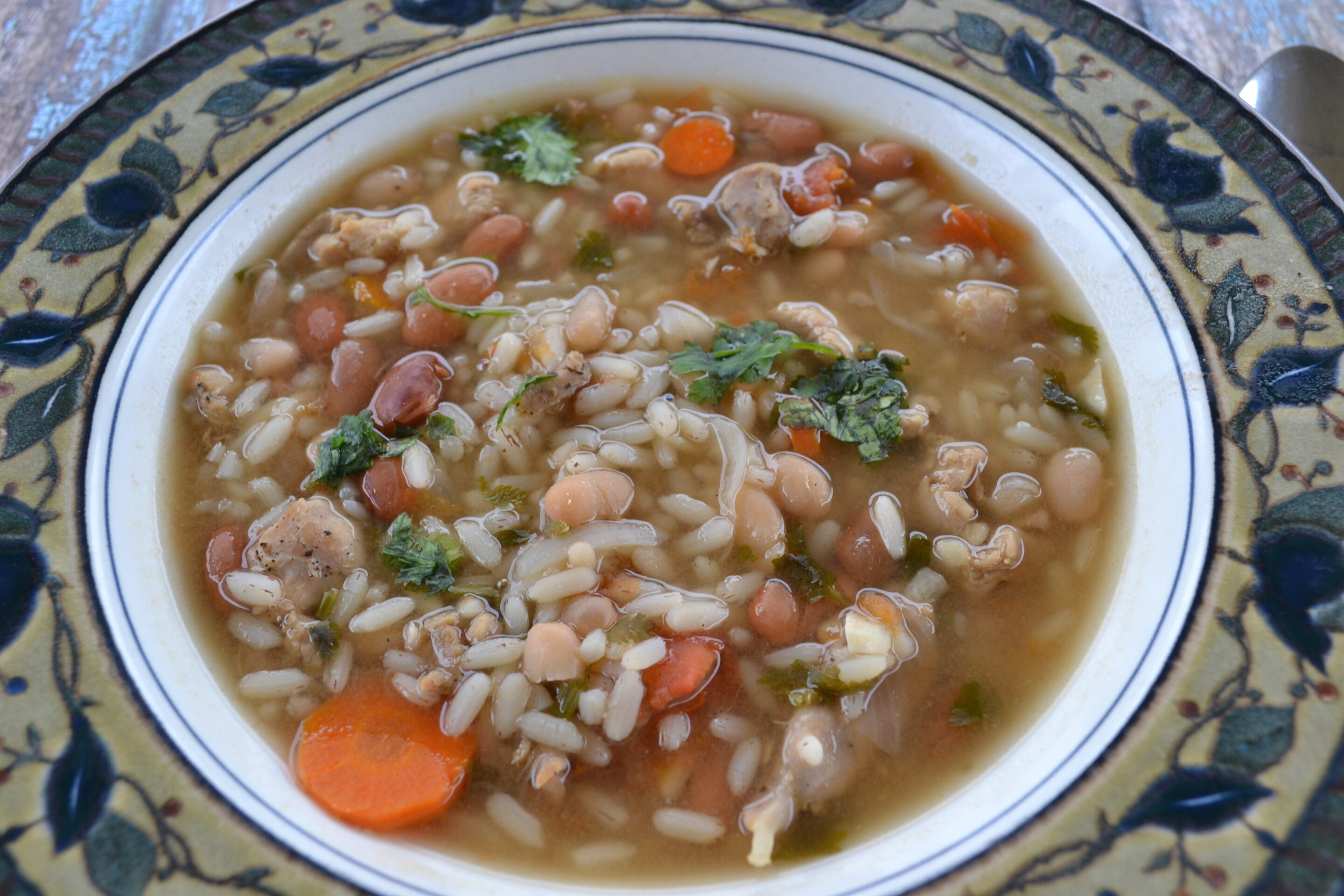 An Easy To Make Healthy Chicken Rice And Bean Soup