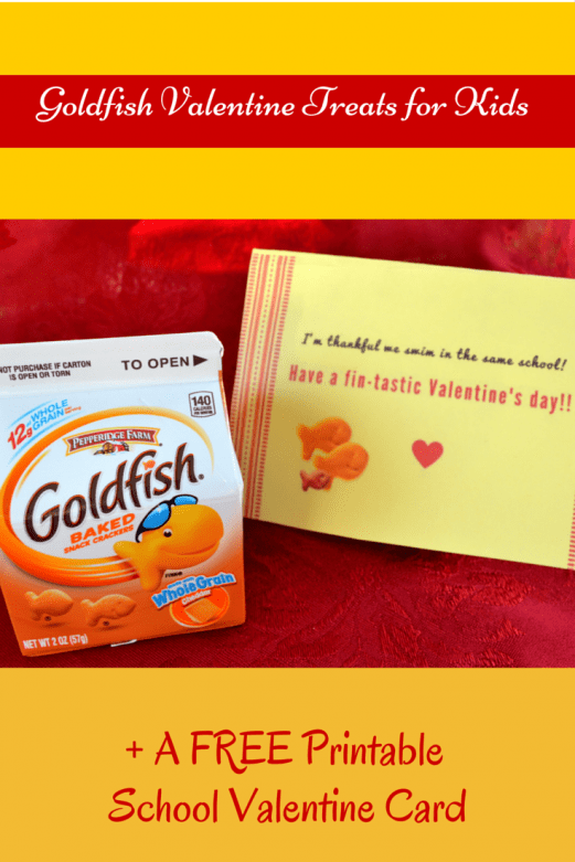 photograph about Goldfish Valentine Printable known as No cost Printable Goldfish Valentines for Youngsters - Mommy Snippets