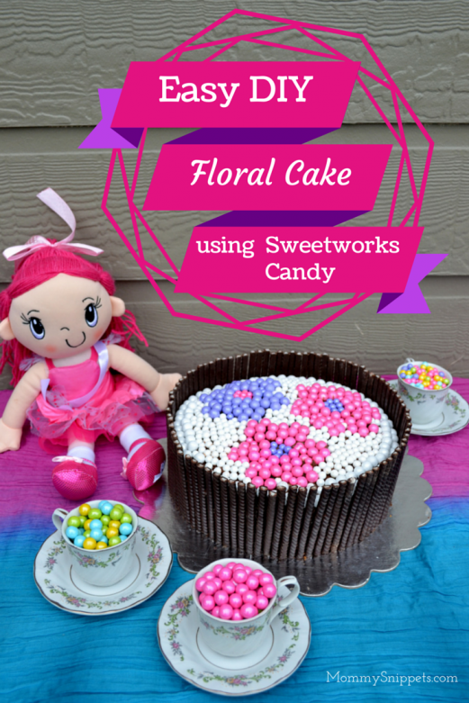 Easy Floral Birthday Cake using Sweetworks Candy - Mommy Snippets