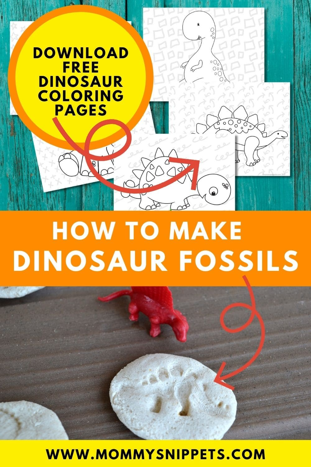 How to Make a Dinosaur Fossils Craft (+ Free Dinosaur Coloring Pages) pin