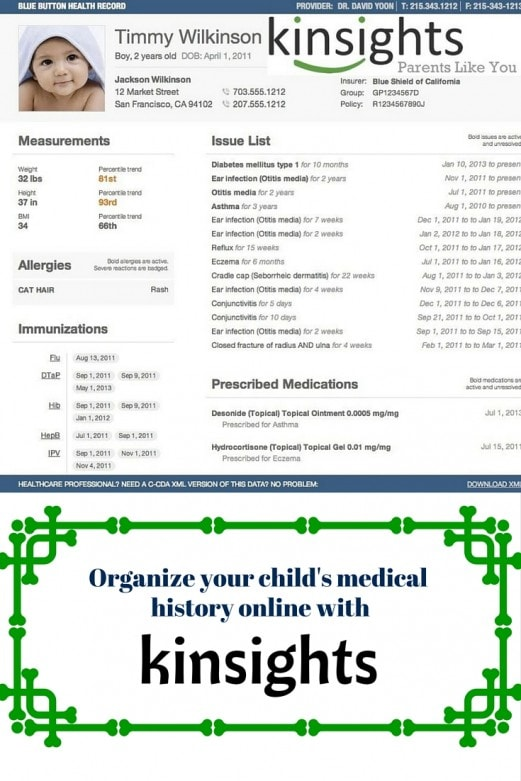 Organize your child's medical history online with Kinsights-MommySnippets.com