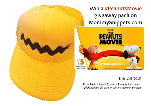 Win a #PeanutsMovie giveaway pack, includes $25 @Fandango #GIftCard (Ends 113)- MommySnippets.com