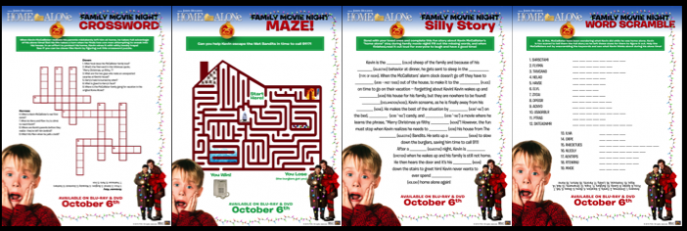 Home Alone 25th Anniversary Activity Sheets