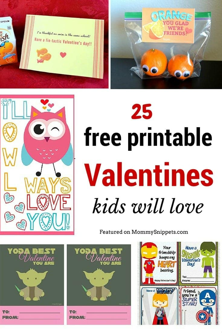 25 free printable Valentines kids will love Mommy Snippets – Free Valentine Printable Cards