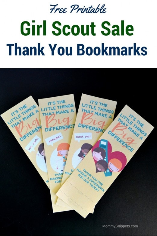 Free Printable Girl Scout Sale Thank You Bookmarks - MommySnippets.com