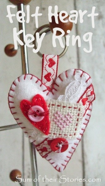 Felt heart key ring