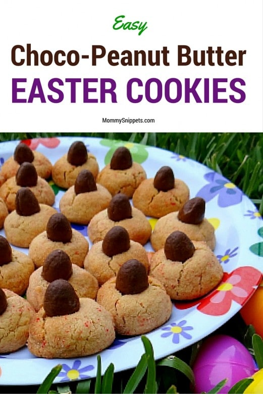 Easy Choco-Peanut Butter Easter Cookies- MommySnippets.com