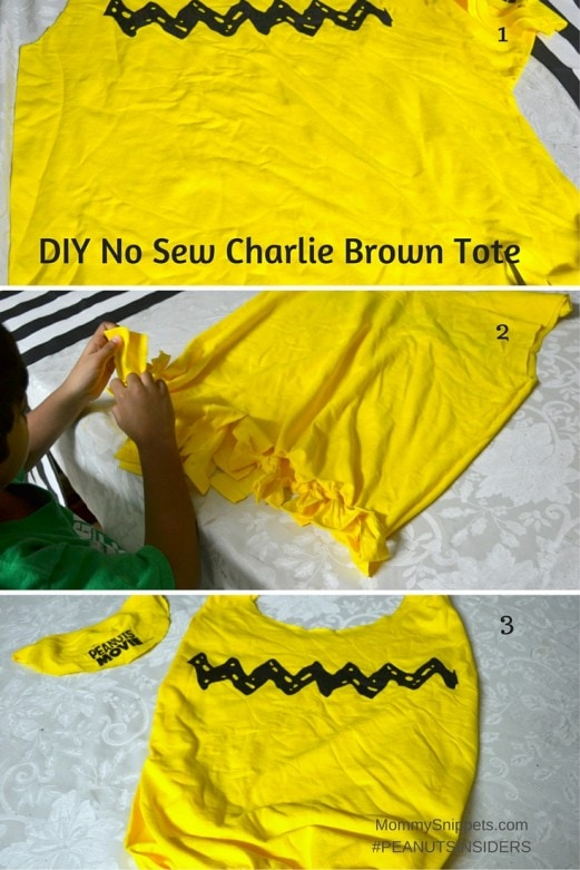 How to make a Charlie Brown No Sew Tote- MommySnippets.com