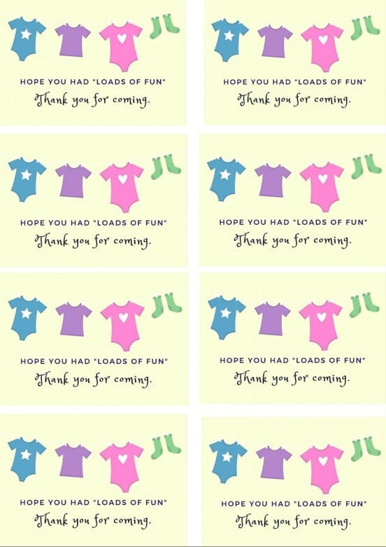 Laundry Themed Baby Shower Sprinkle Gift Favor Tag MommySnippets.com