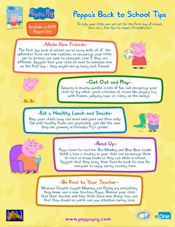 Peppa's Back To School Tips