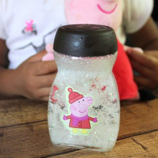 An easy Snow Globe your Preschooler can make. {+ A #PeppaPigDVD Giveaway}