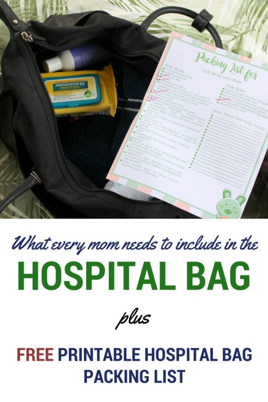What every mom needs to include in the hospital bag PLUS a FREE printable hospital bag packing list- MommySnippets.com #WhatsInYourBabyBag #ad