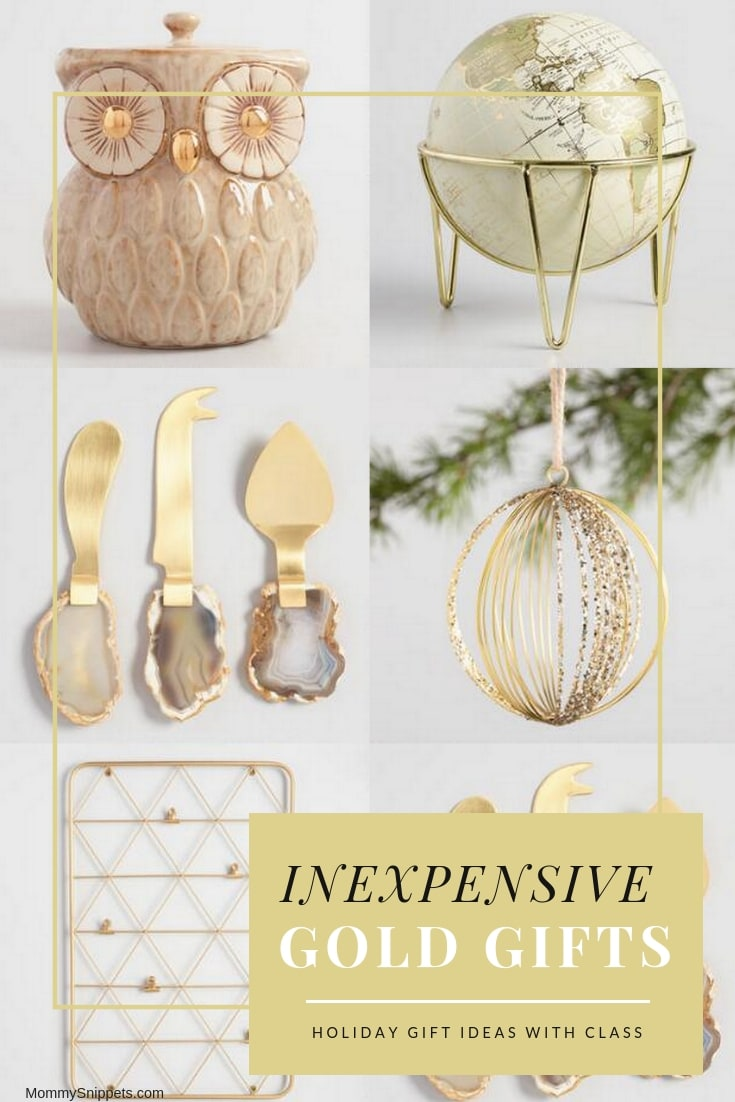 Inexpensive gold holiday gift ideas that are classy- MommySnippets.com #sponsored #goldenbell #worldmarket #discoverworldmarket #worldmarkettribe