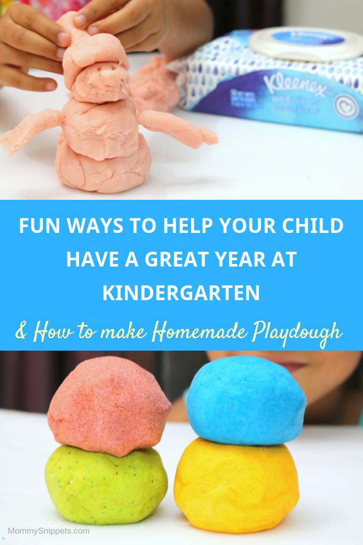 Fun Ways to help your child have a great year at Kindergarten (+ How to make Homemade Playdough)- MommySnippets.com - #SchoolReadyWithKleenex #CollectiveBias #ad