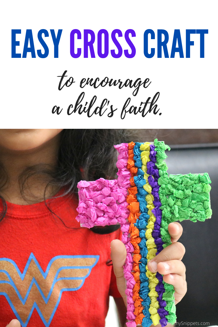 An easy Cross craft to encourage a child's faith - MommySnippets.com #OTCEasterSquad #OrientalTrading #Easter #ad