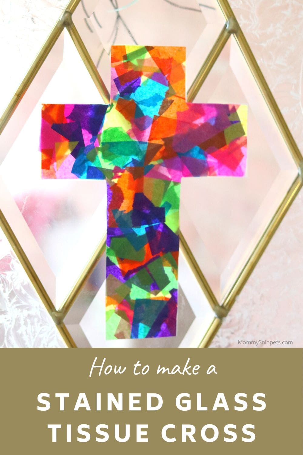 How to make a Stained Glass Tissue Cross- MommySnippets.com