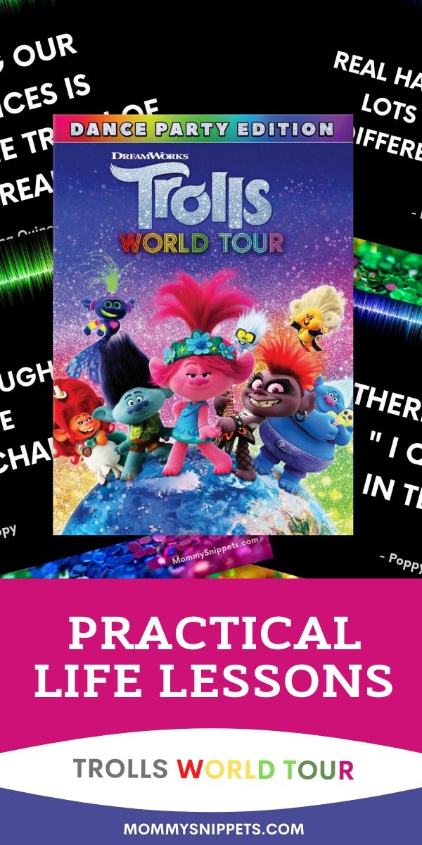 Practical Life lessons from the Trolls World Tour Characters - MommySnippets.com #TrollsWorldTour #Trolls