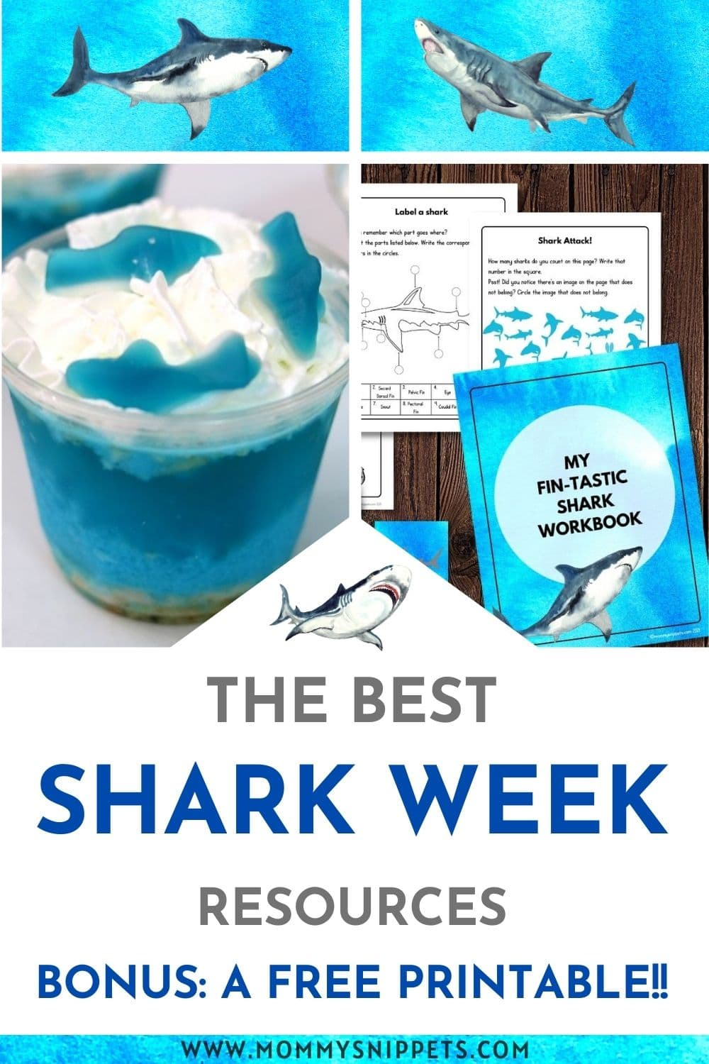 The Best Shark Week Fun – Gummy Shark Jello Cups Recipe, a Free Printable and More!- MommySnippets.com