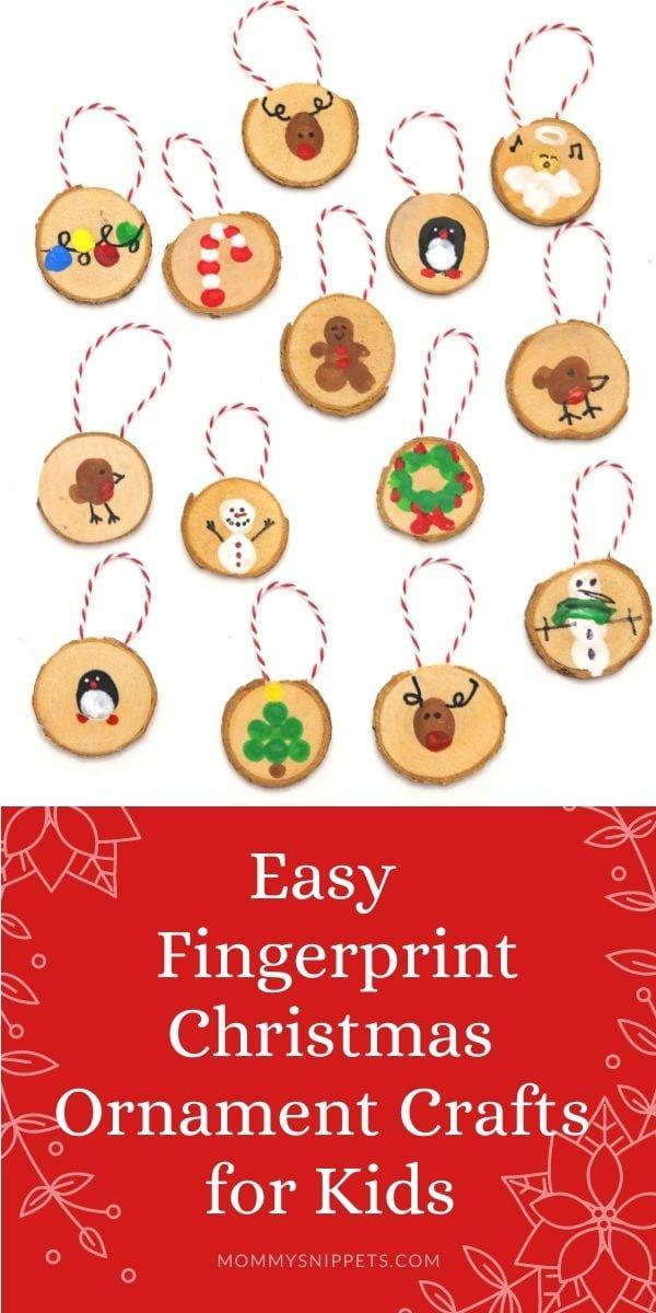 Easy Fingerprint Christmas Ornament Crafts for Kids- MommySnippets.com