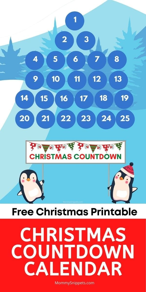 FREE Christmas Printable Christmas Countdown Calendar- MommySnippets.com