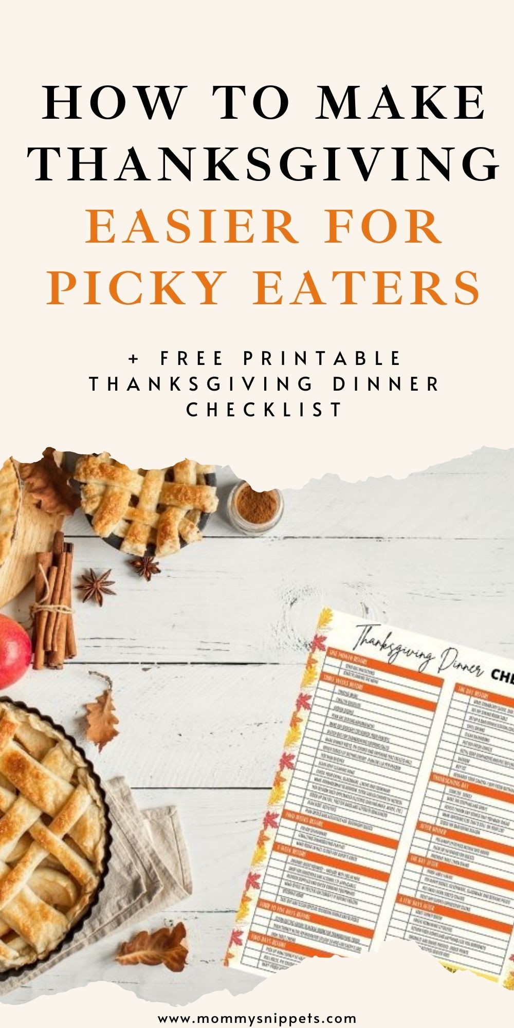 How to make Thanksgiving easier for picky eaters (+ Printable Thanksgiving Dinner Checklist)- MommySnippets.com