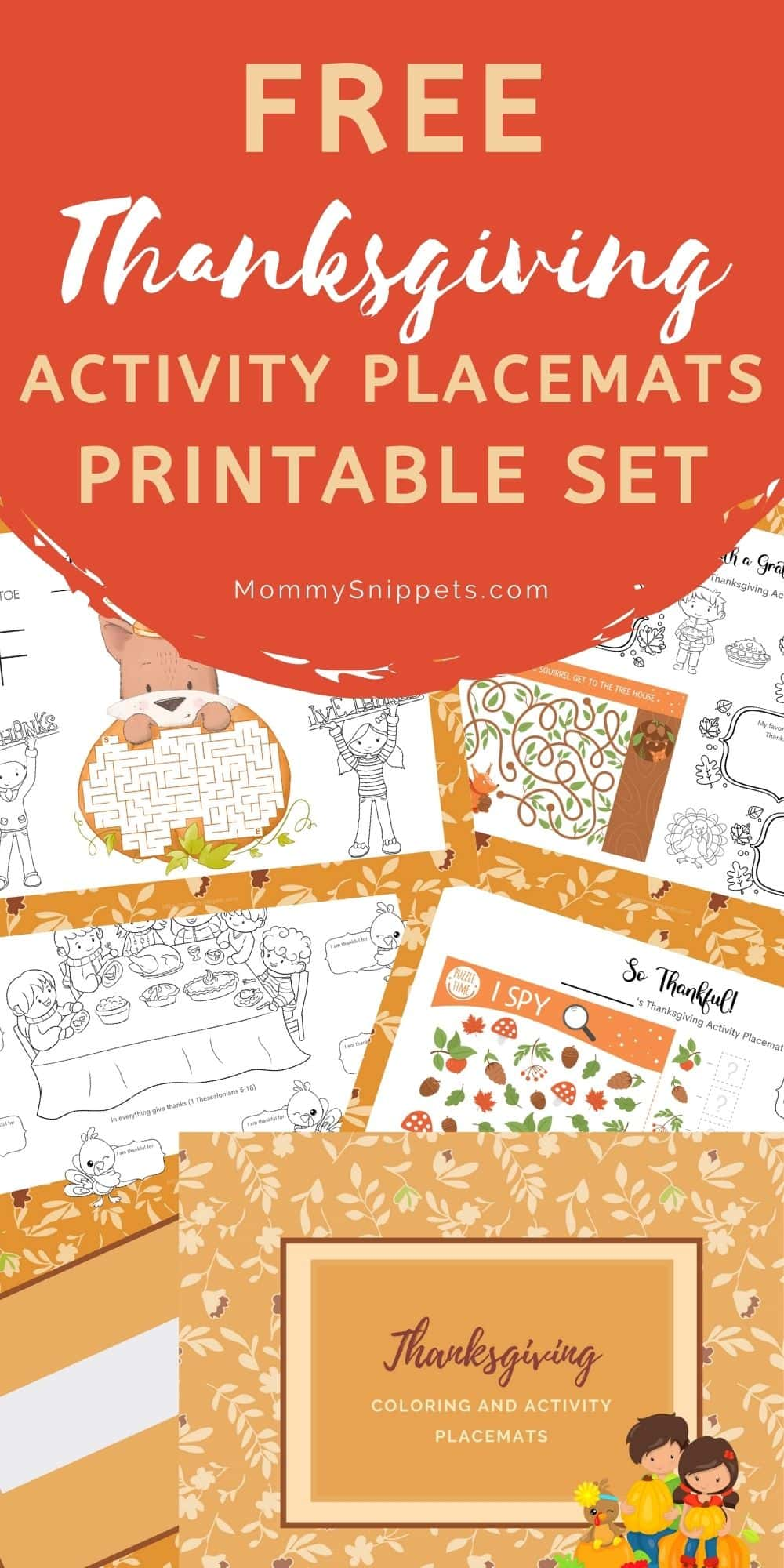 Free Thanksgiving Activity Placemats Printable- MommySnippets.com