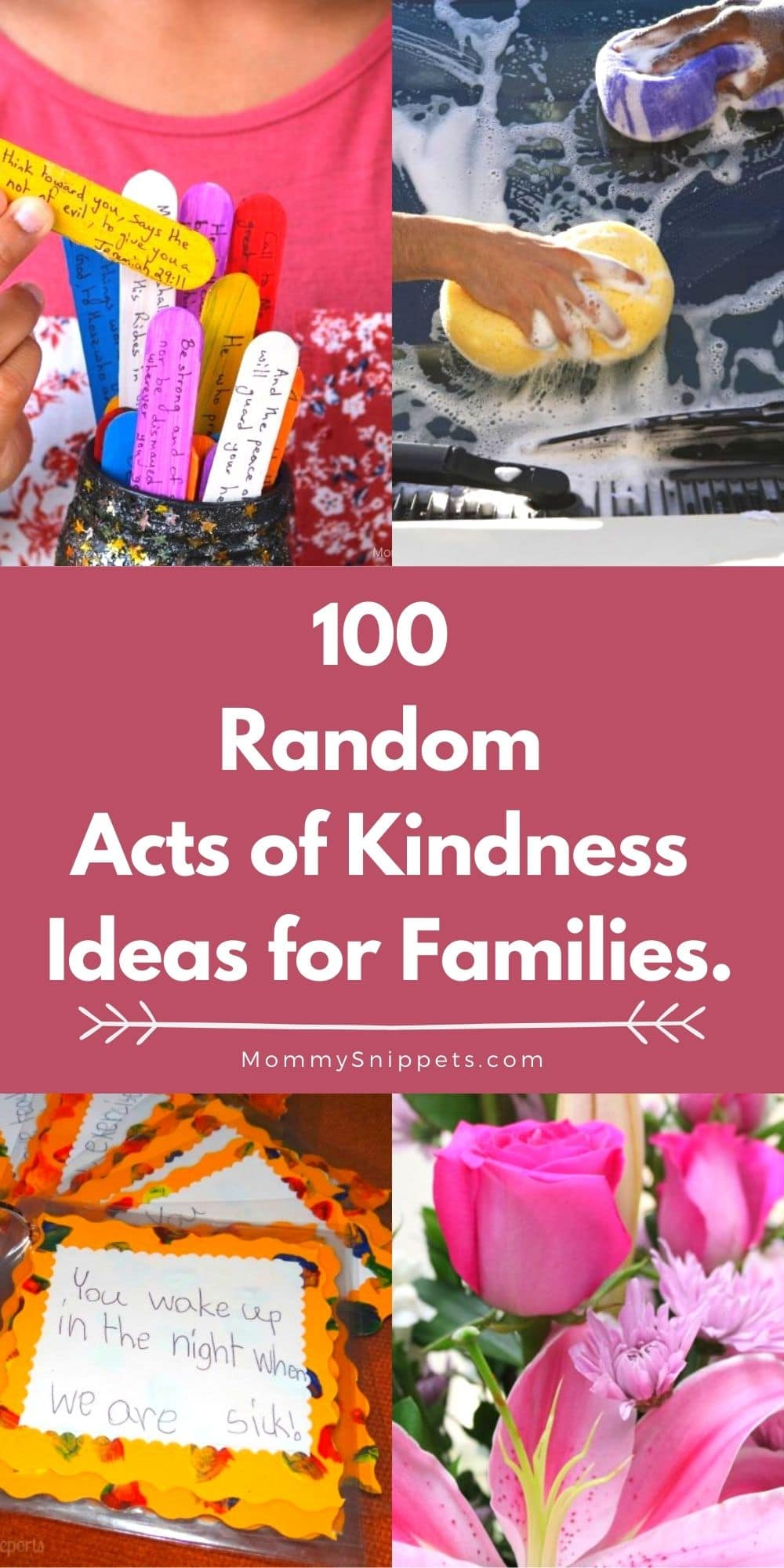100 Random Acts of Kindness Ideas for Families- MommySnippets.com