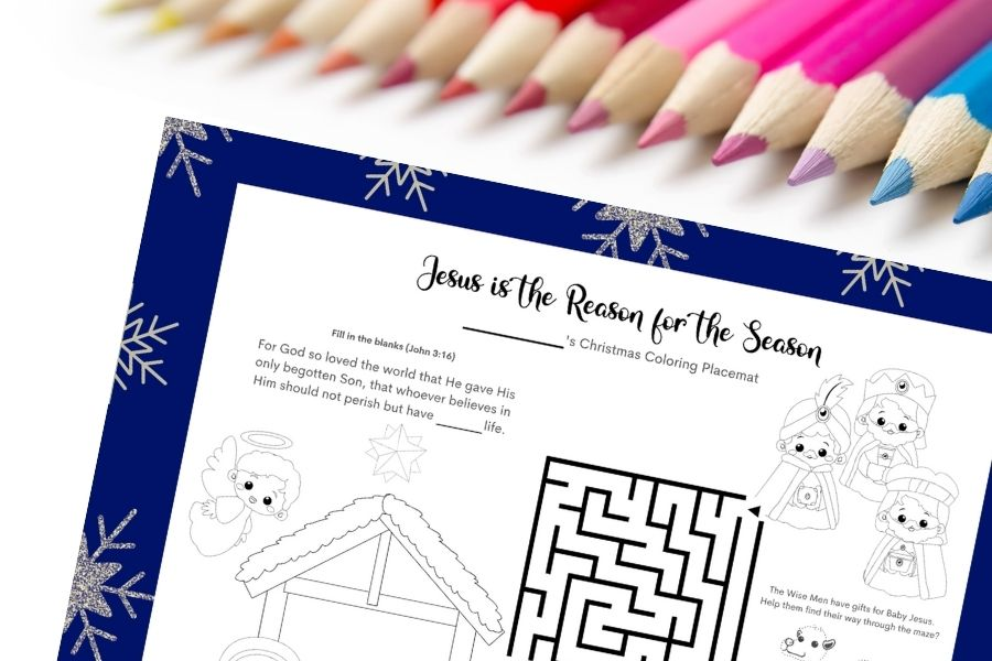 Free Printable Christmas Coloring and Activity Placemats