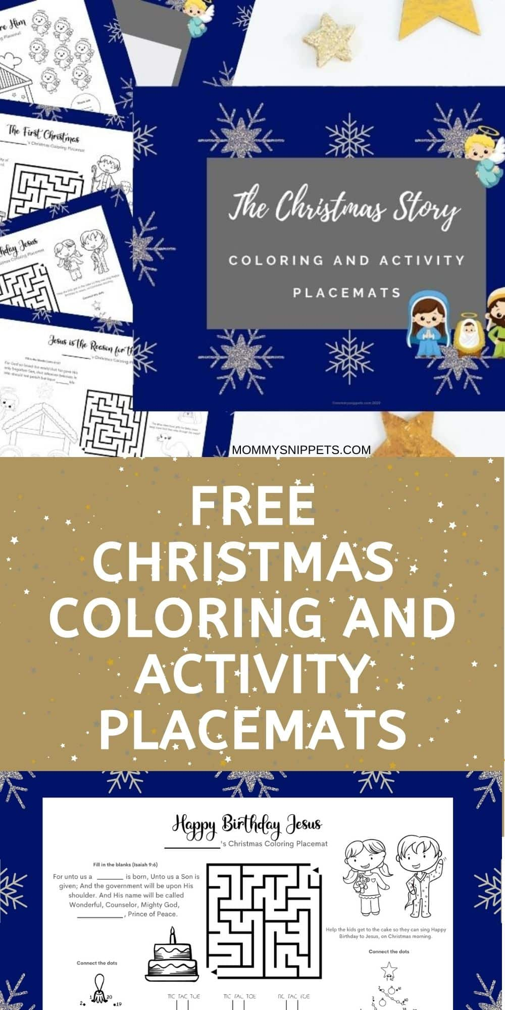 Free Printable Christmas Coloring and Activity Placemats- MommySnippets.com