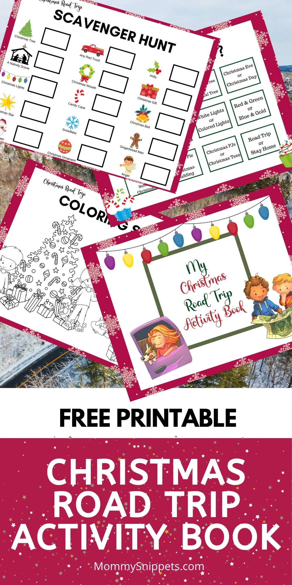 Free Printable Christmas Road Trip Activity Book- MommySnippets.com