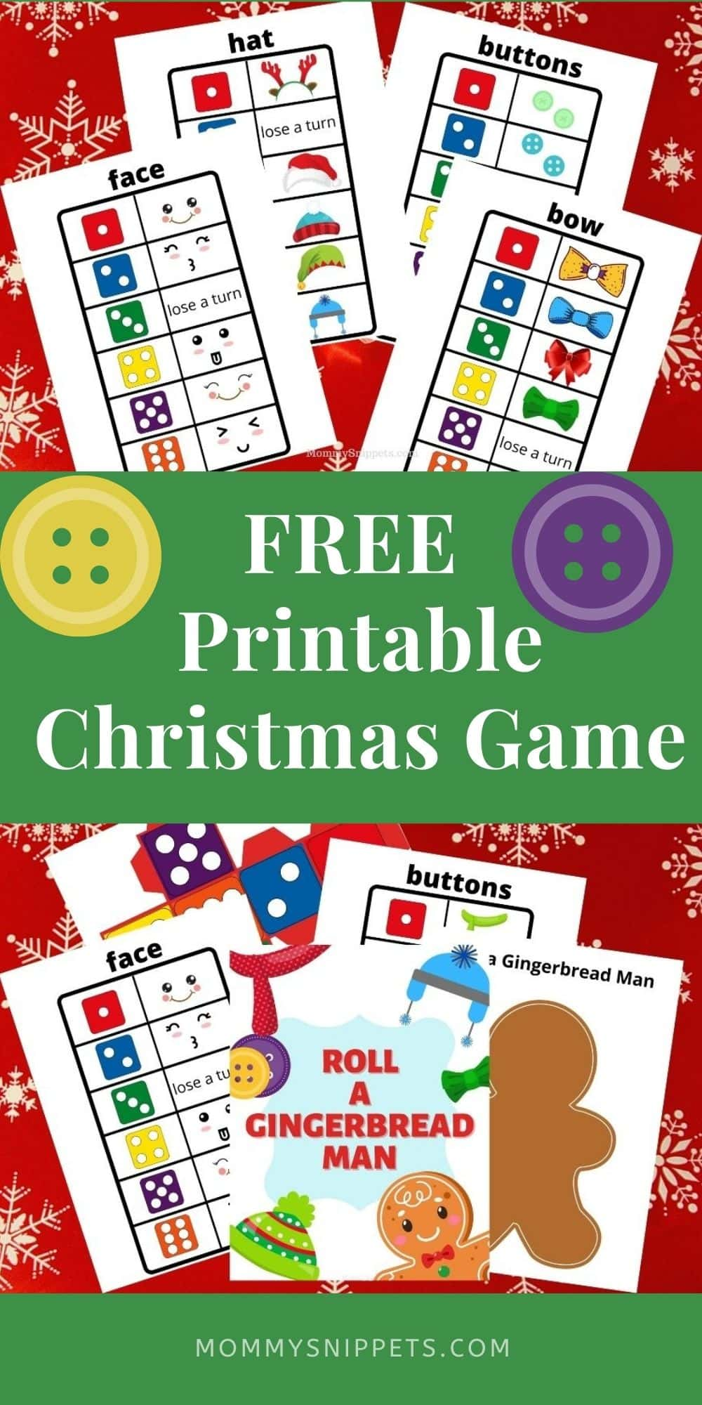 Free Printable Roll A Gingerbread Game- MommySnippets.com
