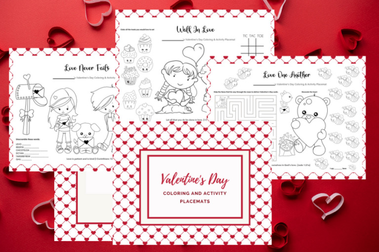 Free Printable Valentine's Day Coloring Pages and Activity Placemats