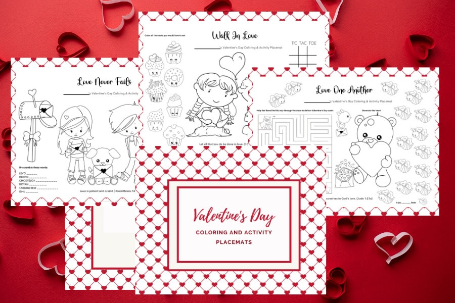 Free Printable Valentine's Day Coloring Pages And Activity Placemats -