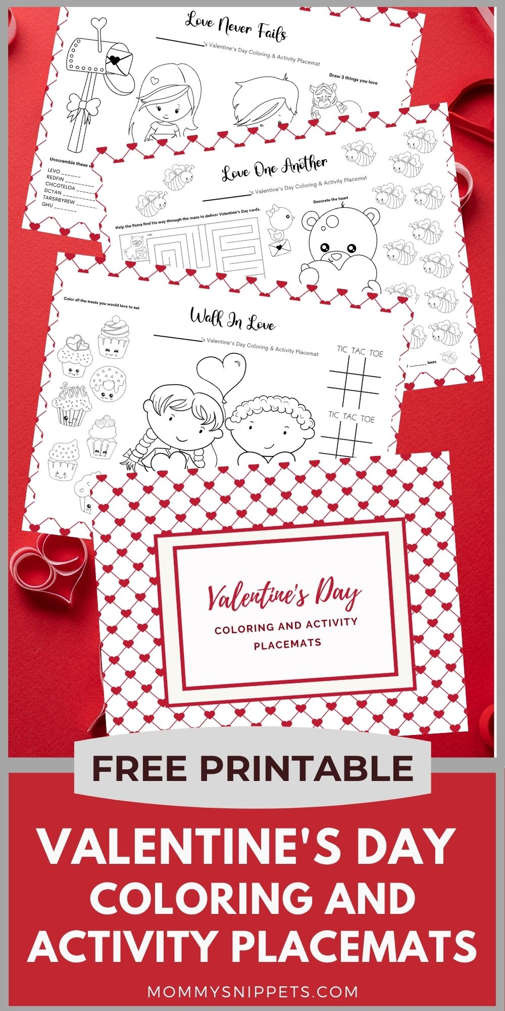 Valentine's Day Activity and Coloring Placemats- Mommy Snippets